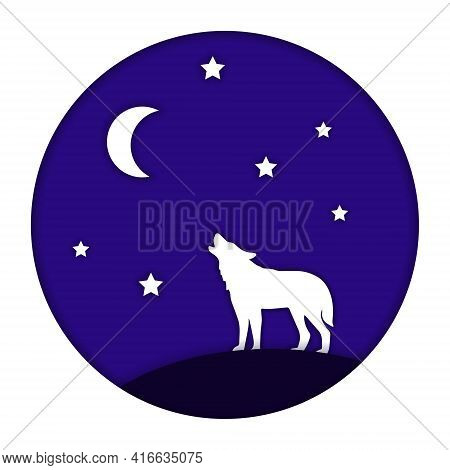 The Wolf Is Howling At The Moon. The Nightscape In A Circle. Paper Cut Style. Vector Illustration
