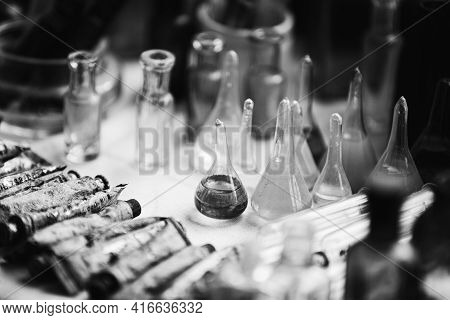 Many Old Deutsch Vintage Medical Glass Capacity. Detail Of Retro Chemical Pharmaceutical Science Res