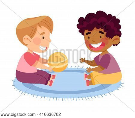 Boy Toddlers Sitting On The Floor In Kindergarden And Playing Ball Vector Illustration