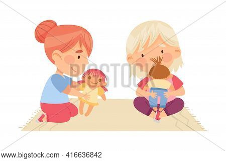 Cute Little Girls Sitting On Rug And Playing With Dolls In Kindergarden Vector Illustration