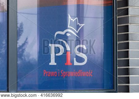 Pruszcz Gdanski, Poland - April 11, 2021: Logo And Sign Of Of Pis Law And Justice (polish: Prawo I S