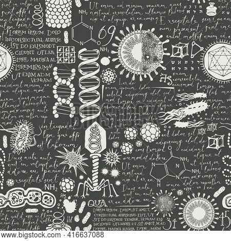 Vector Seamless Pattern On Topic Of Virology, Chemistry, Biology, Medicine. Abstract Background With