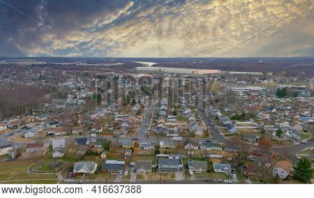Aerial View Of Residential Quarters At Beautiful Town Urban Landscape The Nj Usa