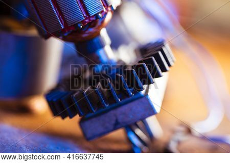 Power Tool Repair. Details Of Electrical Appliance And Tools For Repair In A Repair Shop.