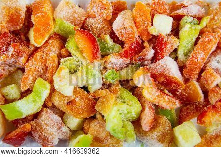 Vegetable Mixture Lecho Quick-frozen Consisting Of Tomatoes, Onions, Sweet Peppers, Zucchini And Car