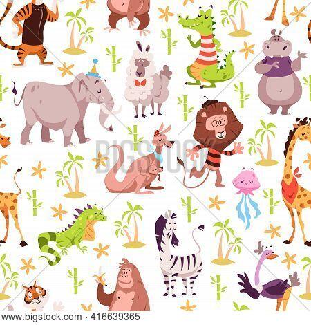 Childish Animals Seamless Pattern. Cute Summer Wild Fauna Background, Kids Jungle Wildlife Cartoon S