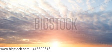 Sky Background, Coudy Sky Abstract Background, Sun Above The Horizon
