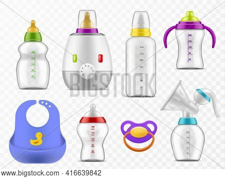 Baby Food Accessories. Realistic Milk Bottles, Rubber Pacifier, Heater And Manual Breast Pump, Child