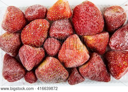 Strawberry Berries Are Quick-frozen Pink Red With White Frost, Useful Products Are Vitamins