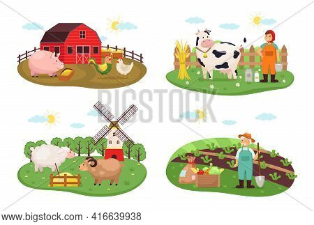 Farm Scenes. Rural Nature Farming And Animal Husbandry, Agricultural Compositions With Growers Man A