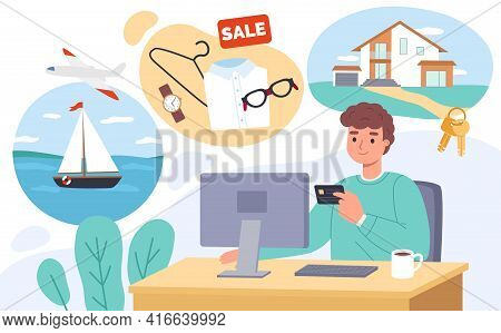 Shopping Online. Happy Man Chooses Product Distantly, Male Customer Pays Purchases With Credit Card,