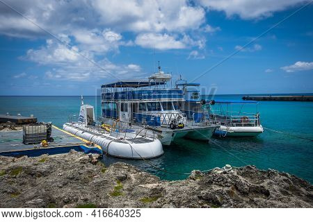 Grand Cayman, Cayman Islands, July 2020, View Of The Atlantis Fleet In George Town A Tour Company Or