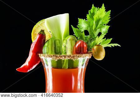 Bloody Mary, A Cocktail Made With Vodka, Tomato Juice, Lemon Juice, Worcestershire Sauce, Tabasco An