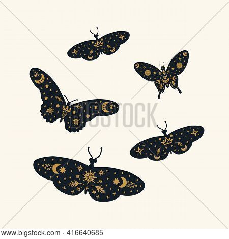 A Set Of Soaring Black Butterflies. Moths Of Different Sizes And Patterns Of Stars And The Moon On T