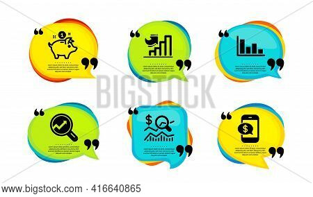Growth Chart, Analytics And Saving Money Icons Simple Set. Speech Bubble With Quotes. Check Investme