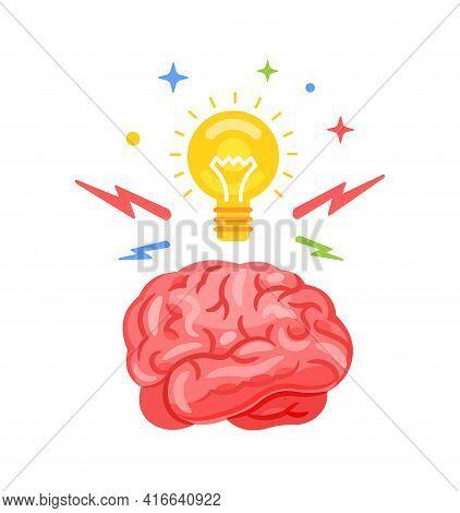 Brainstorm. Creative Idea Icon, Abstract Icon. A Brain With A Light Bulb On At The Top. Idea. Vector