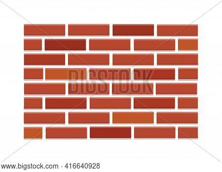 Brick Wall Made Of Red Bricks. Vector Illustration, Texture.