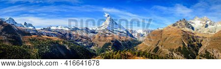 Panoramic view of the mountains near Zermat, Switzerland with Matterhorn in the middle