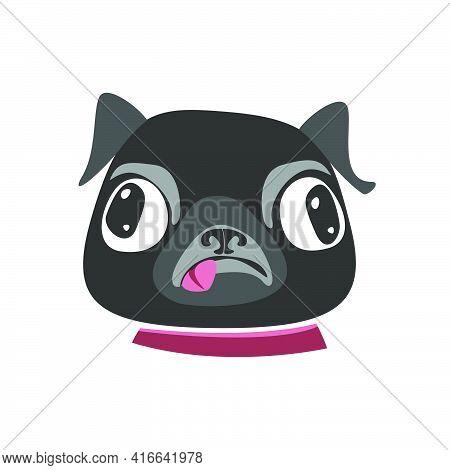 Black Pug Breed Dog Puppy Head. Flat Vector Illustration