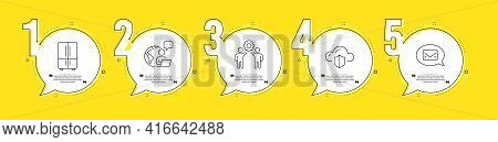 Refrigerator, Messenger And Cloud Protection Line Icons Set. Timeline Process Infograph. Employees T