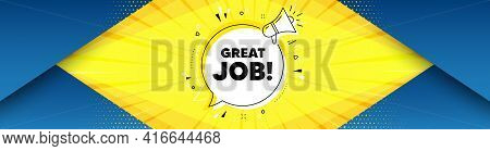 Great Job Symbol. Background With Offer Speech Bubble. Recruitment Agency Sign. Hire Employees. Best