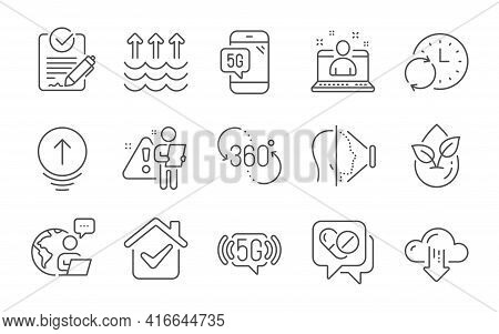 360 Degree, Cloud Download And Face Id Line Icons Set. Rfp, Best Manager And Evaporation Signs. Upda