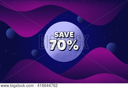 Save 70 Percent Off. Abstract Background With Dotwork Shapes. Sale Discount Offer Price Sign. Specia