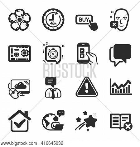Set Of Business Icons, Such As Reject Book, Motherboard, 48 Hours Symbols. Natural Linen, Cloud Comp