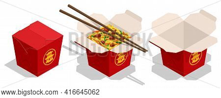 Isometric Noodles Box, Fast Food Menu Asian Chinese Meals. Opened And Closed Take Out Box Filled Wit