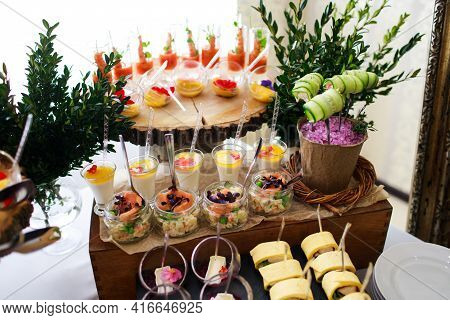Delicious Snacks At The Banquet. Catering On Banquet.