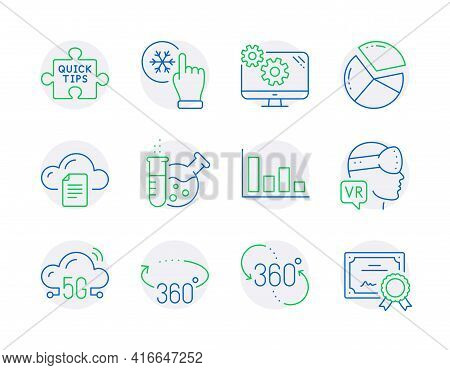 Science Icons Set. Included Icon As Pie Chart, Settings, Quick Tips Signs. Chemistry Lab, File Stora