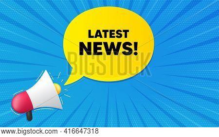 Latest News Symbol. Background With Megaphone. Media Newspaper Sign. Daily Information. Megaphone Ba