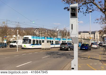 Zurich, Switzerland - March 10, 2021: Evening Road Traffic: Speed And Red Light Radar In One Device,