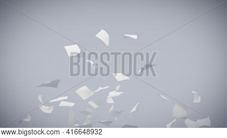Flying Sheets Of White Paper Swirling In The Air In A Whirlwind. Scatter Documents Or Empty Blanks.