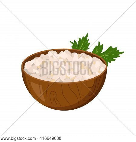 Wooden Plate With Cottage Cheese And A Sprig Of Parsley. Curd Icon. A Source Of Vitamin A. Healthy F