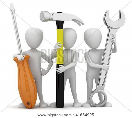 3D Small People Repairers.