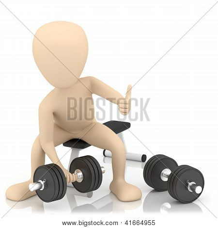 3D Small Person Lifts Weights.