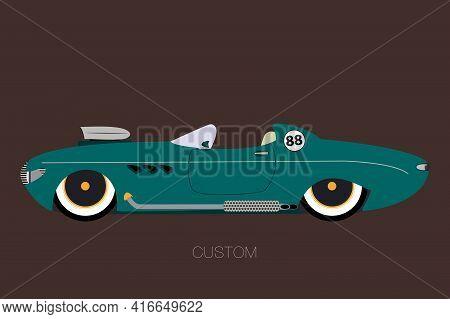 Convertible Custom Car, Spider Vector Car, Cabriolet, Flat Design Style