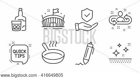Whiskey Glass, Insurance Hand And Recruitment Line Icons Set. Frying Pan, Signature And Arena Signs.