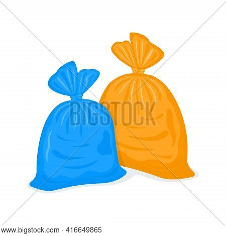 Tied Plastic Garbage Bags. Filled Rubbish Packages Isolated On White Background. Blue And Orange Pac
