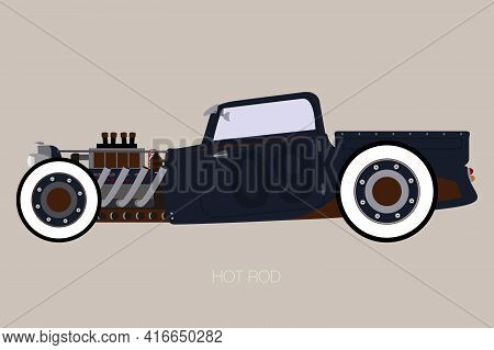 Pick Up Hot Rod, Side View Of Car, Automobile, Motor Vehicle