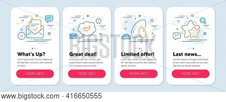 Set Of Line Icons, Such As Approved Mail, Peanut, Approved Symbols. Mobile Screen Mockup Banners. St