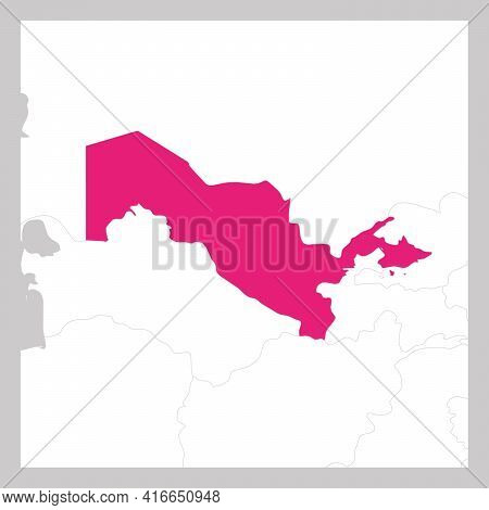 Map Of Uzbekistan Pink Highlighted With Neighbor Countries.