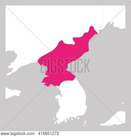 Map Of North Korea Pink Highlighted With Neighbor Countries.