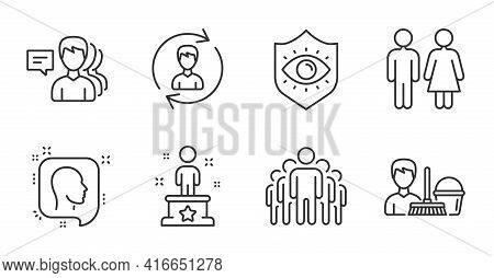 Human Resources, Restroom And Group Line Icons Set. Cleaning Service, Success And People Signs. Head