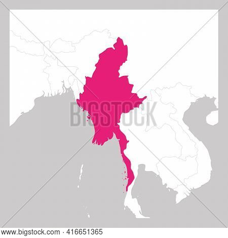 Map Of Myanmar Pink Highlighted With Neighbor Countries.