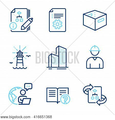 Industrial Icons Set. Included Icon As Engineer, Algorithm, Technical Algorithm Signs. Office Box, S