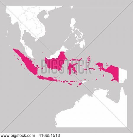 Map Of Indonesia Pink Highlighted With Neighbor Countries.