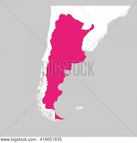 Map Of Argentina Pink Highlighted With Neighbor Countries.