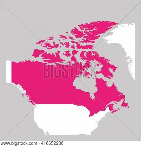 Map Of Canada Pink Highlighted With Neighbor Countries.